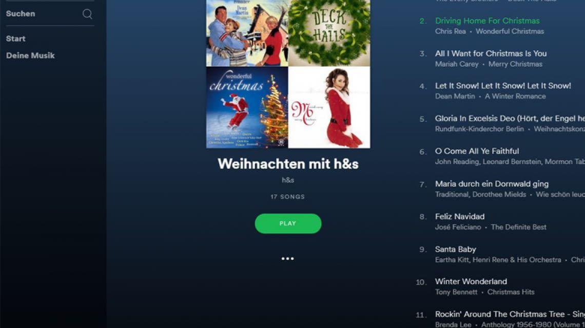 Weihnachten mit h&s: Spotify-Playlist sorgt für Stimmung