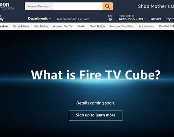 Amazon kündigt auf seiner E-Commerce Webseite die neue Streaming-Lösung Fire TV Cube an
