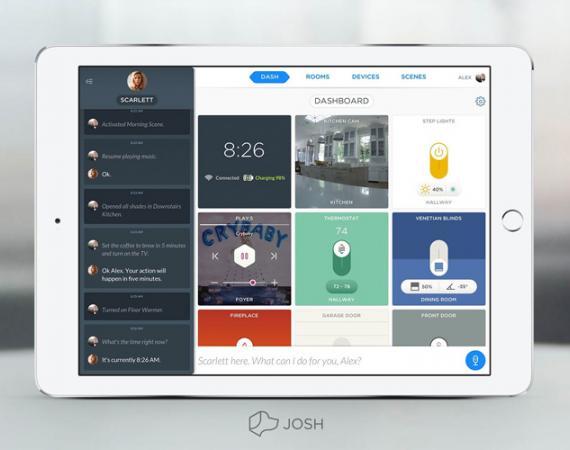 Josh Dashboard auf einem iPad zur Smart Home Sprachsteuerung