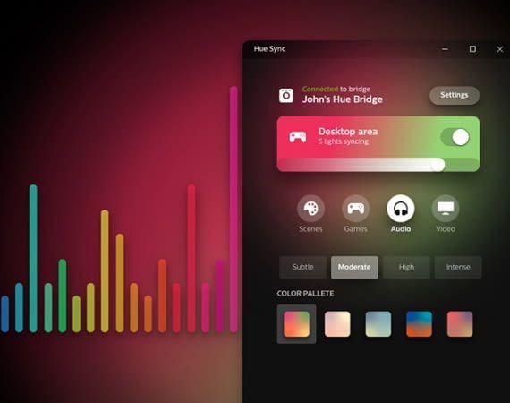 Mit der Philips Hue Sync App lassen sich Playlists mit Philips Hue Leuchten synchronisieren
