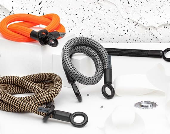 In trendigem Design ist tex–lock hübsch anzusehen. Radfahrern erspart das textile Schloss Gewicht