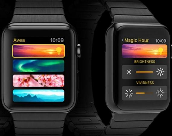 Abbildung der Elgato Avea LED Leuchte, der iPhone App und der Apple Watch App