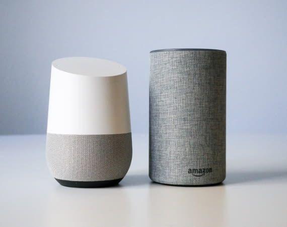 Sprachassistenten auf Wohnungssuche: Google Home und Home Mini sowie Amazon Echo und Echo Dot