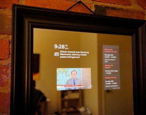 Perseus - der smarte Spiegel zeigt bspw. Nachrichten an