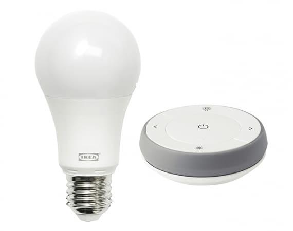 Derzeit nur im Set erhältlich: Farbige LED-Lampe im IKEA TRÅDFRI Dimmer-Set