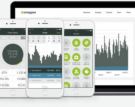 Abbildung der Smappee App zur Aufzeichnung und Darstellung des Stromverbrauchs