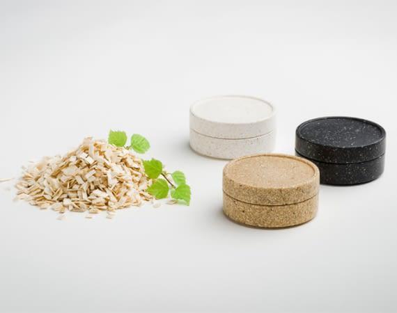 Das Verpackungsmaterial aus Holzchips ist biologisch abbaubar