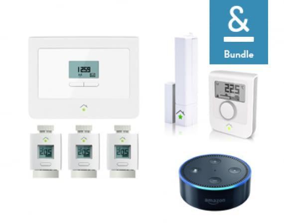 Heizungsbundle mit innogy Zentrale, Thermostaten, Tür- und Fenstersensor sowie Amazon Echo Dot zur Sprachsteuerung
