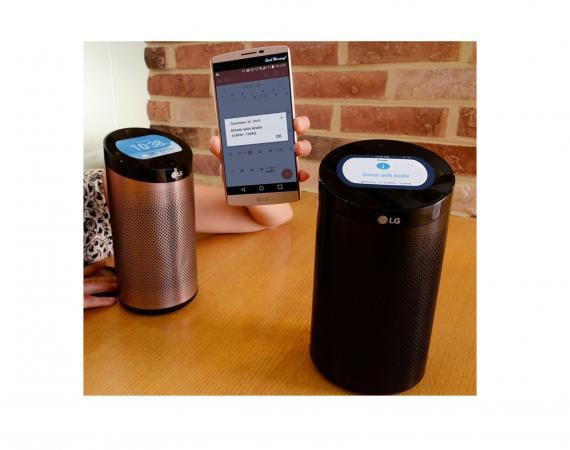 Abbildung des LG SmartThinQ Hub mit integriertem Lautsprecher
