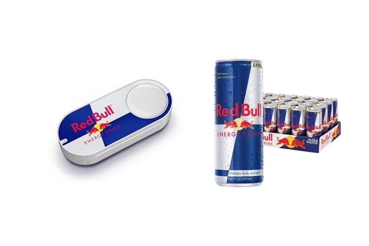 Mit dem Red Bull Dashbutton kann auf Knopfdruck eine ganze Palette Nachschub bestellt werden