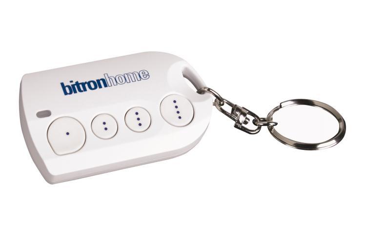 Abbildung der Bitron 4-Tasten Fernbedienung. Qivicon Smart Home Gerät