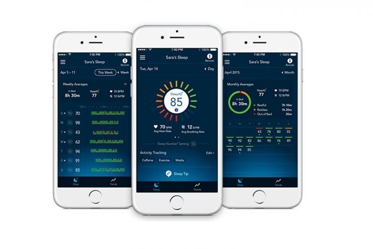 Abbildung der SleepIQ App auf einem iPhone