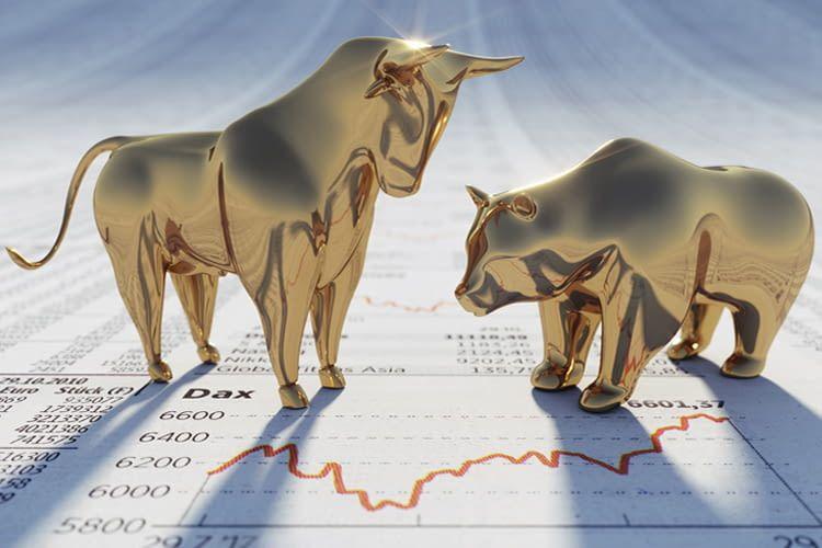 Alexa ist mit den Symboltieren der Börse, Bulle und Bär, auf du und du