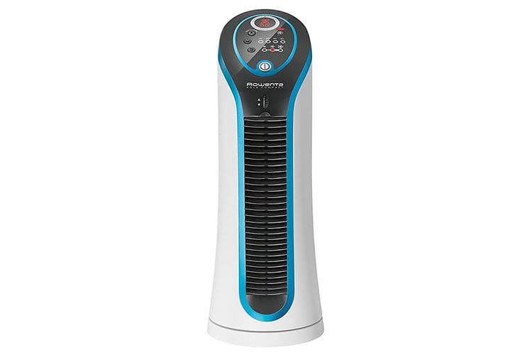Rowenta Eole Compact ist ein leiser Mini-Turmventilator mit vielen Extras wie integrierter Zeitschaltuhr und Temperaturanzeige