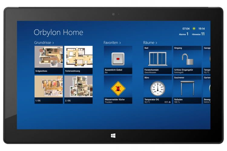 Orbylon Home Startseite auf einem Tablet