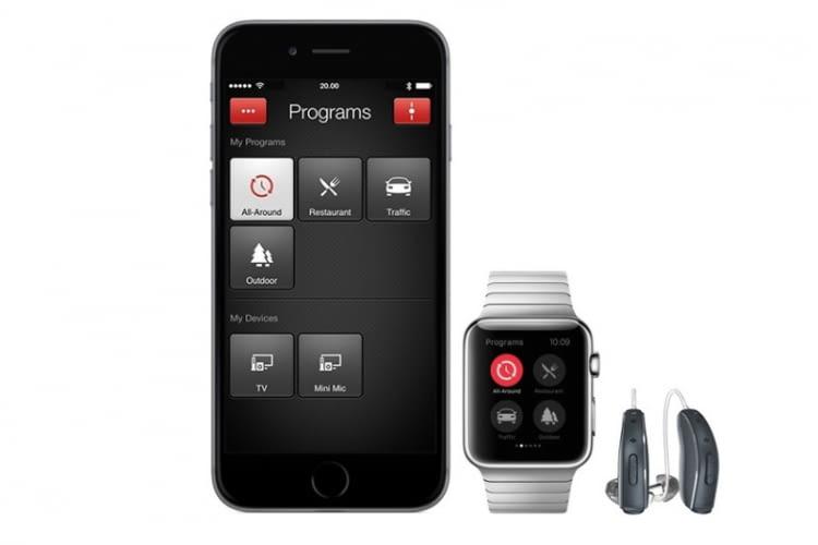 Abbildung: Hörgerät ReSound LiNX² inklusive ReSound Smart App auf dem iPhone