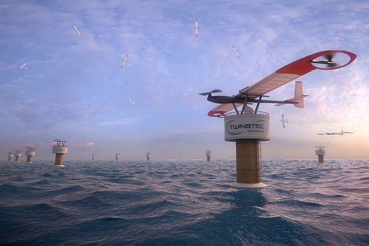 So könnte ein großer TwingTec Windpark im Meer aussehen