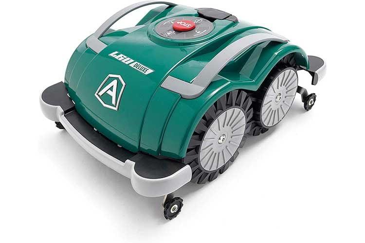 Ambrogio L60 Deluxe - Mähroboter ohne Begrenzungskabel. Die kleinen Rädchen vorne und hinten dienen der Erkennung von Stufen