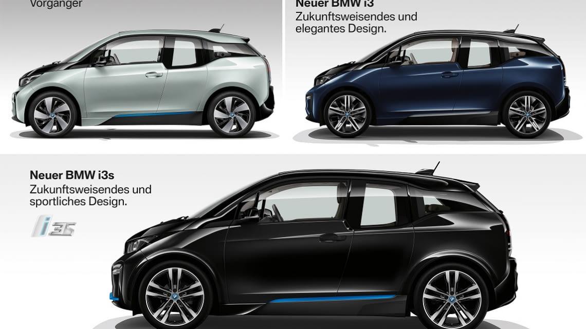 Seitenoptik: Der Vorgänger, der BMW i3 und der neue BMW i3s im Vergleich