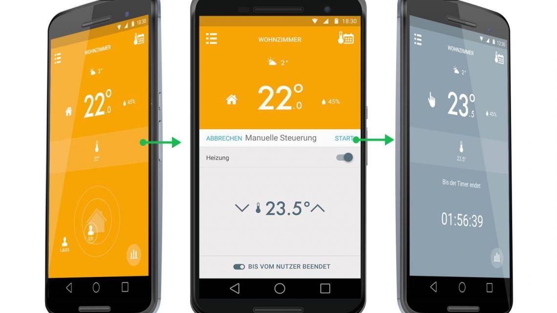 App-Steuerung für das Thermostat von tado
