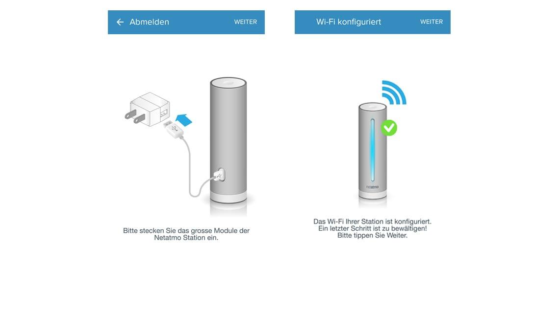 Installation: Die Netatmo-App führt detailliert durch die Installation der Wetterstation