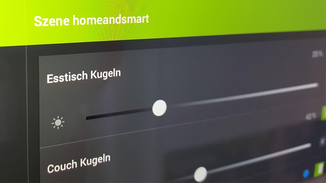 Individualisierte Einstellungen: home&smart-Szene mit dem iPad erstellt