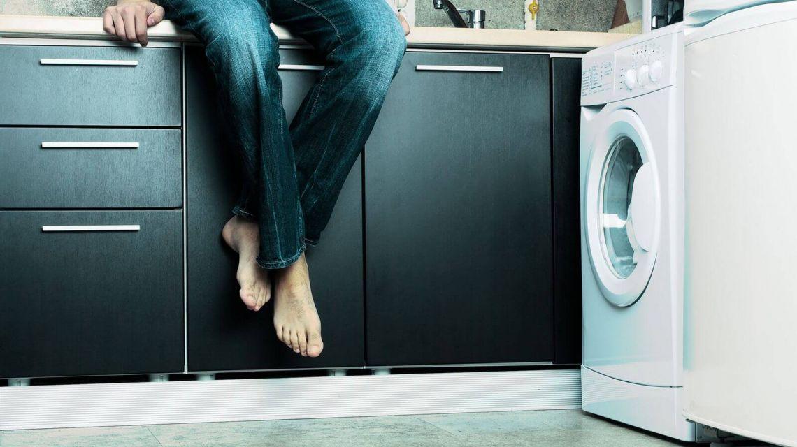 Räume Eingang Blick Waschmaschine