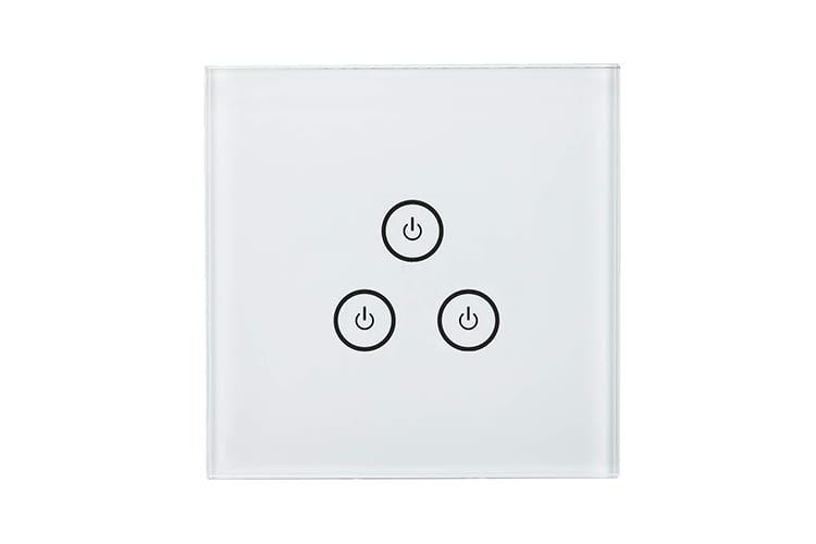 Mit glatter Oberfläche und drei Touch-Bedienknöpfen passt der WLAN-Lichtschalter in jedes Zimmer