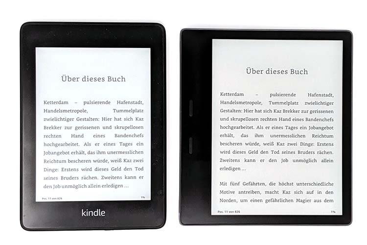 Amazon Kindle Paperwhite (links) im Vergleich zum Kindle Oasis (rechts)