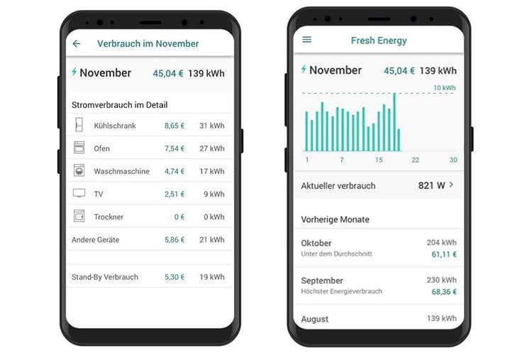 Die Smartphone App von Fresh Energy zeigt den Live-Stromverbrauch
