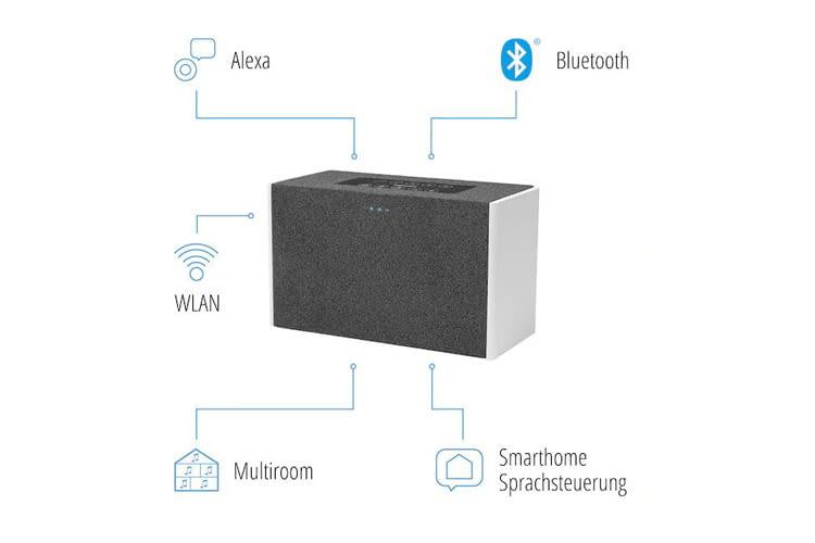 Der MEDIONLIFEP61142Multiroom-Lautsprecher ist 22 x 13,6 x 10 cm groß