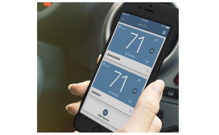 Das smarte Thermostat von Emerson kann auch von unterwegs reguliert werden