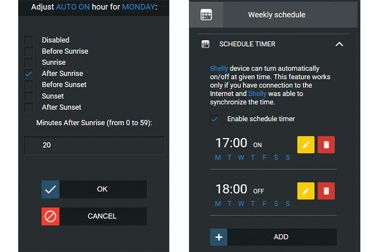 Links: Einstellungsmenue für die Timer-Funktion der Shelly App; Rechts: Erstellung eines Wochenplans in der Shelly App