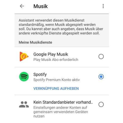 Spotify in der Google Home-App als Standard-Musikdienst festlegen