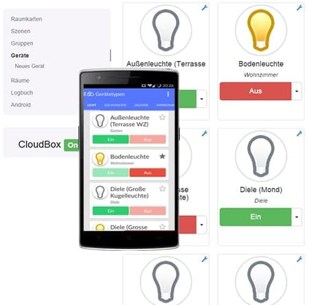 Abbildung des everHome Dashboards zur Steuerung des Smart Home