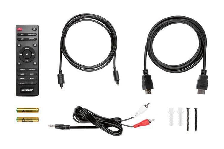Das Zubehör der SILVERCREST Soundbar Stereo 2.1 im LIDL Deal kann sich sehen lassen