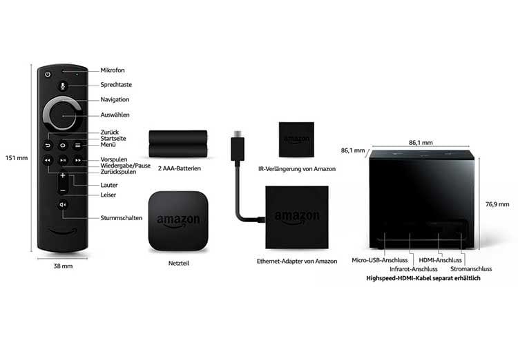 Amazon Fire TV Cube verfügt über einen Infrarot Anschluss, mit dem sich auch andere IR-Geräte wie Soundbars steuern lassen