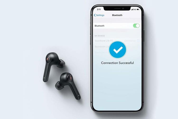 Die Bluetooth Verbindung zwischen Smartphone und den Soundcore Life P2 In Ear Kopfhörern ist spielend einfach aufgebaut