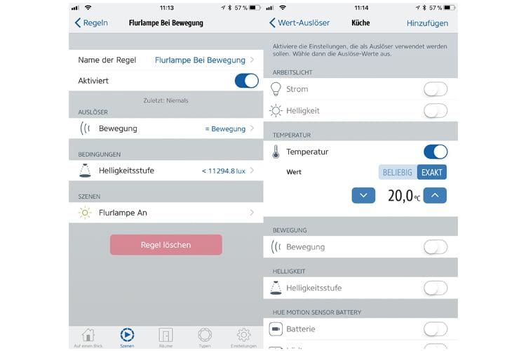 Mithilfe der Elgato Eve-App lassen sich die erweiterten Sensordaten des Hue-Bewegungsmelders für Automationsregeln nutzen