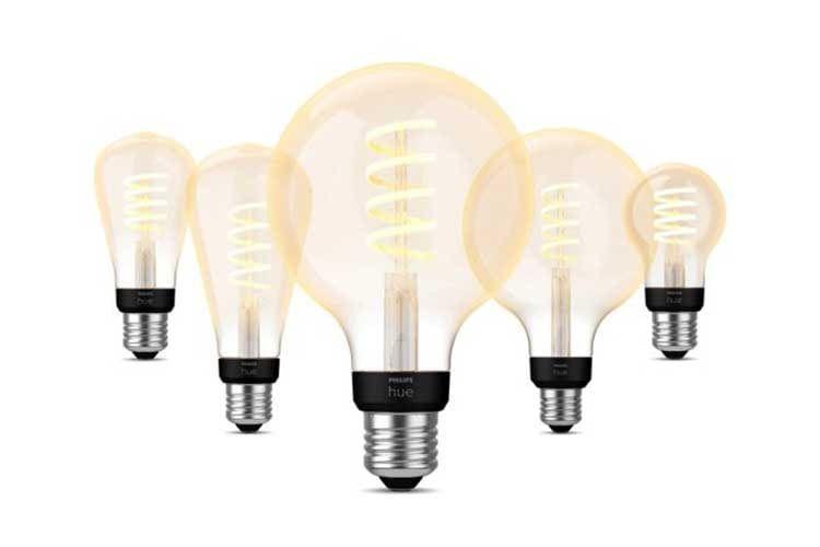 Die Philips Hue White Filament Lampen simulieren Glühfäden und lassen Räume im Retro-Chick erstrahlen