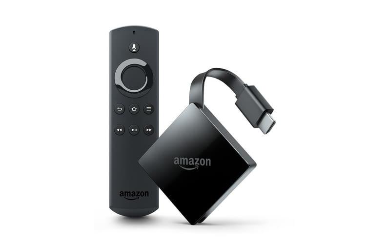 Im Lieferumfang enthalten sind: Fire TV Gerät, Alexa-Sprachfernbedienung, USB-Kabel und Netzteil