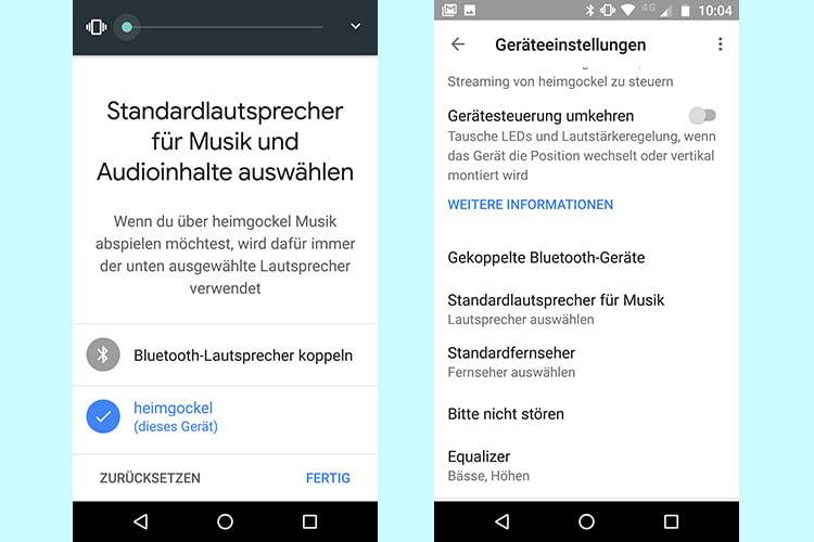 Via Google Home App einen Bluetooth-Lautsprecher für die Standard-Musikausgabe festlegen