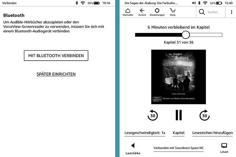 Ist der neue Kindle von Amazon mit einem Bluetooth-Kopfhörer verbunden, lassen sich auch Audible Hörbücher anhören