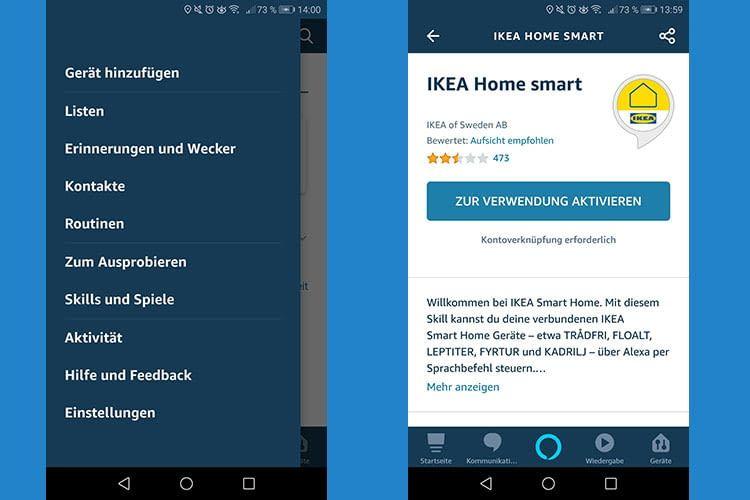 """Im Menü """"Skills und Spiele"""" auswählen, um dann nach dem IKEA Home Smart Skill zu suchen"""