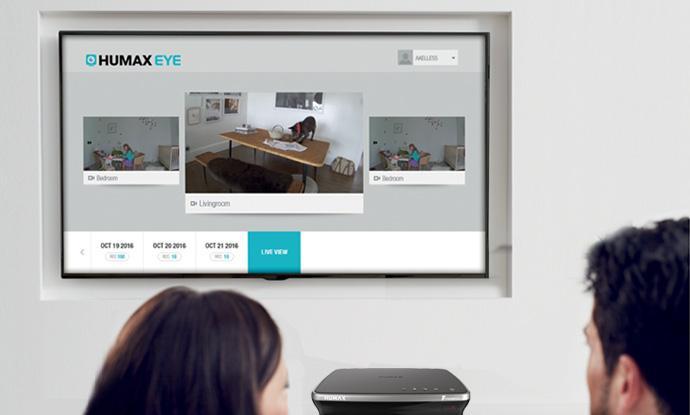 Die Aufnahmen der HUMAX Eye können als Live-Videos auf dem Fernseher angesehen werden