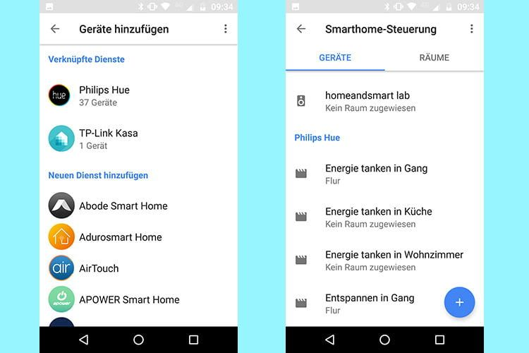 Lichtszenen werden über die Google Home App für Google Assistant eingerichtet