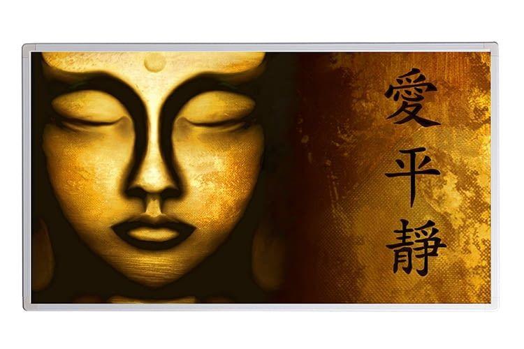 Auch Buddha kann das IR-Heizpanel in Bad oder Wohnzimmer zieren
