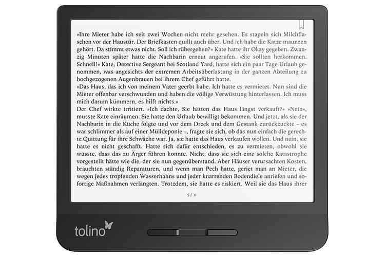 tolino vision 5 unterstützt das Lesen in waagrechter und senkrechter Display-Position
