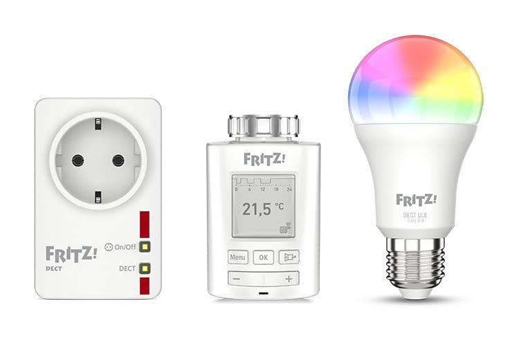 Kommunizieren per DECT ULE Funkstandard: FRITZ! Smart Home Zwischenstecker, Thermostat und LED Leuchte von AVM