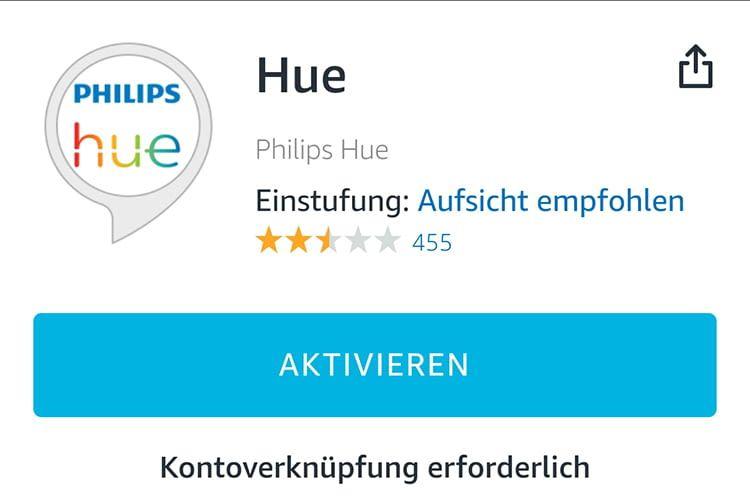 Nach der Aktivierung des Alexa Skills sind die Philips Hue-Login-Daten erforderlich